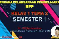 RPP Kelas 1 Semester 1 Tema 2