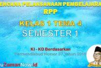 RPP Kelas 1 Semester 1 Tema 4