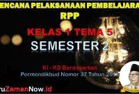 RPP Kelas 1 Semester 2 Tema 5