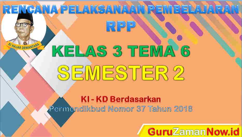 RPP Kelas 3 Semester 2 Tema 6