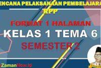 RPP 1 Lembar SD Kelas 1 Tema 6
