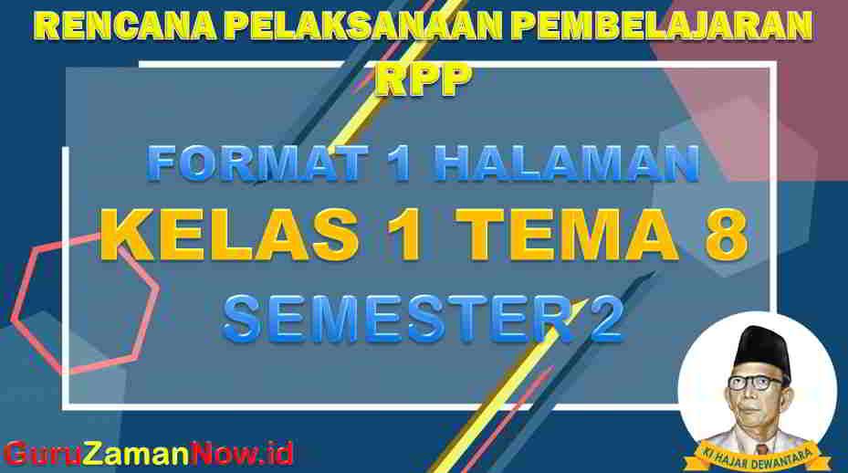 RPP 1 Lembar SD Kelas 1 Tema 8