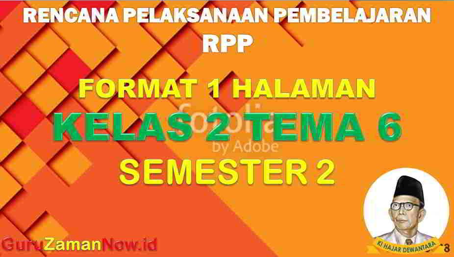 RPP 1 Lembar SD Kelas 2 Tema 6