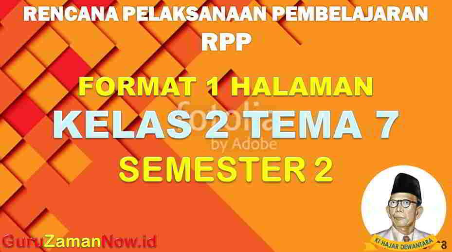 RPP 1 Lembar SD Kelas 2 Tema 7