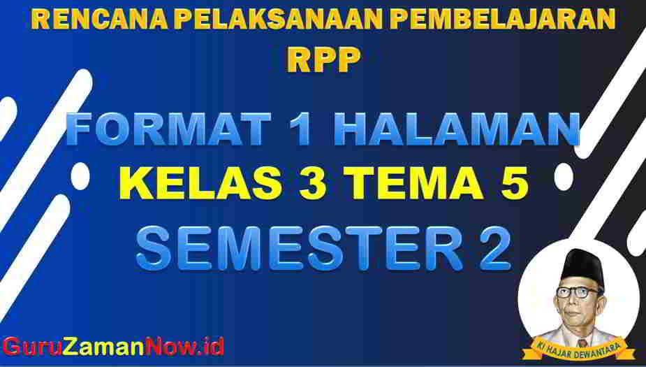 RPP 1 Lembar SD Kelas 3 Tema 5
