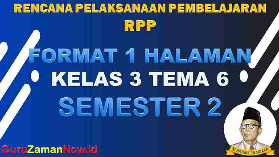 RPP 1 Lembar SD Kelas 3 Tema 6