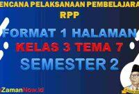 RPP 1 Lembar SD Kelas 3 Tema 7