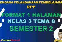 RPP 1 Lembar SD Kelas 3 Tema 8
