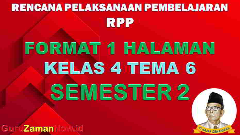 RPP 1 Lembar SD Kelas 4 Tema 6.
