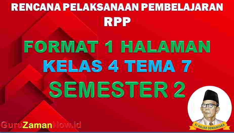 RPP 1 Lembar SD Kelas 4 Tema 7