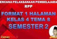 RPP 1 Lembar SD Kelas 4 Tema 8