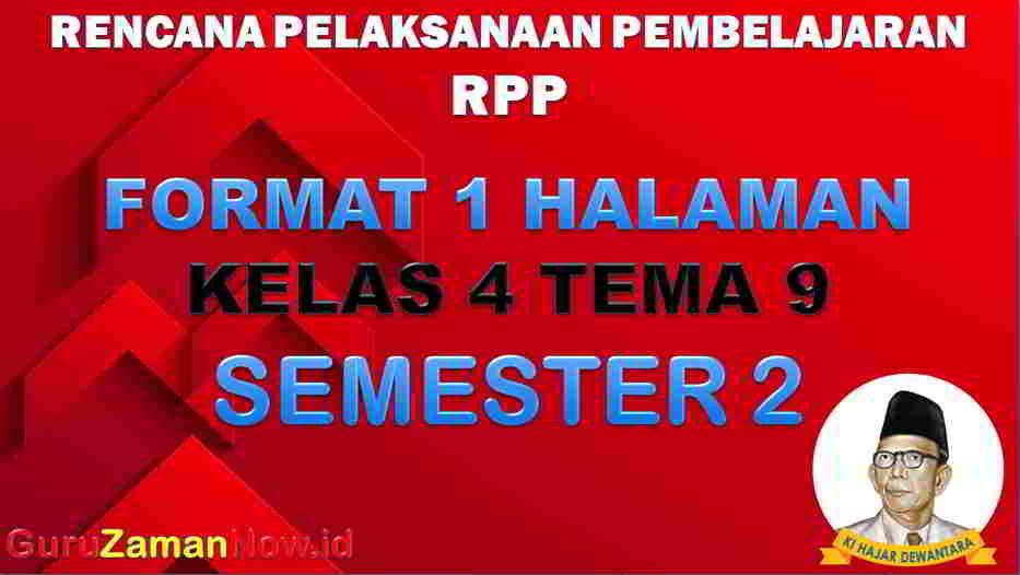 RPP 1 Lembar SD Kelas 4 Tema 9