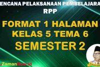 RPP 1 Lembar SD Kelas 5 Tema 6