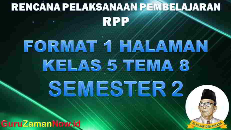 RPP 1 Lembar SD Kelas 5 Tema 8