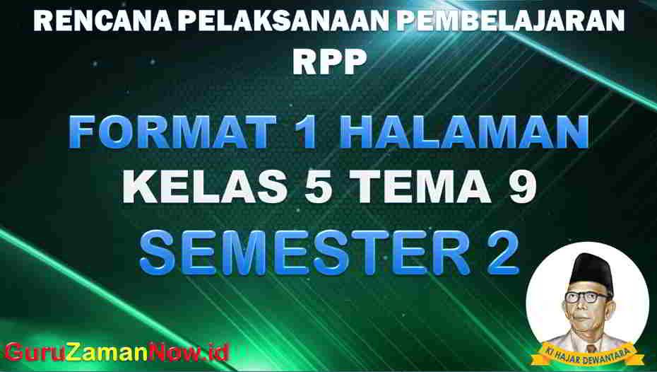 RPP 1 Lembar SD Kelas 5 Tema 9