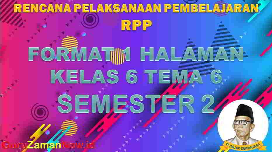 RPP 1 Lembar SD Kelas 6 Tema 6