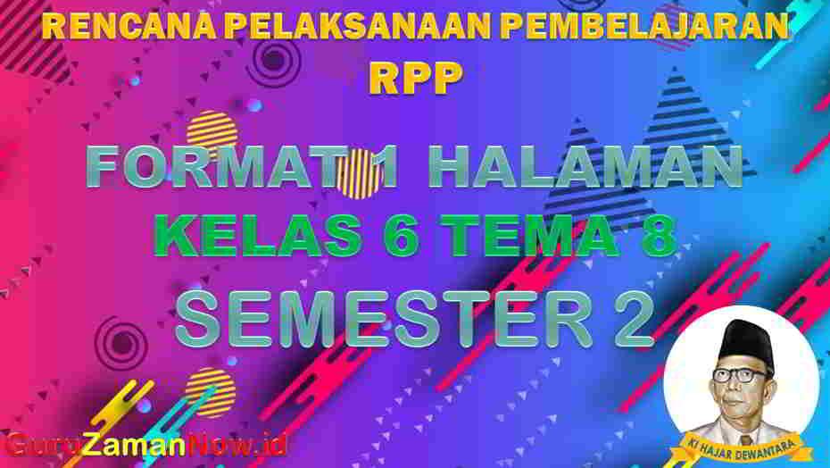 RPP 1 Lembar SD Kelas 6 Tema 8