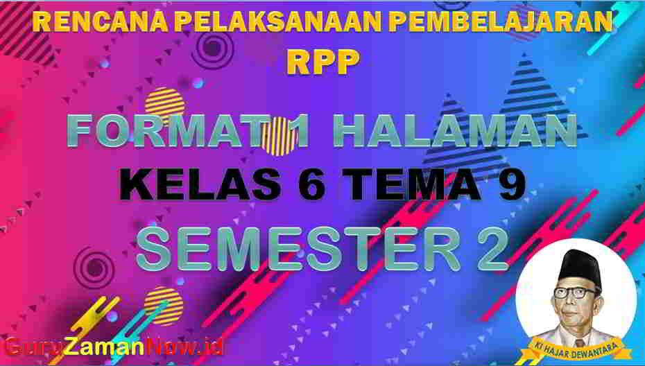 RPP 1 Lembar SD Kelas 6 Tema 9