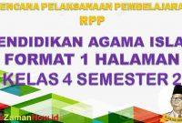 RPP 1 Lembar Pendidikan Agama Islam PAI Kelas 4 Semester 2