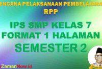 RPP 1 Lembar IPS Kelas 7 Semester 2 Revisi 2020