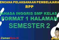 RPP 1 Lembar Bahasa Inggris Kelas 7 Semester 2 Revisi 2020