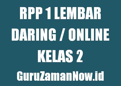 Contoh RPP 1 Lembar Daring Kelas 2 Tahun 2020/2021