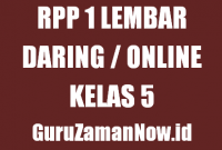 Contoh RPP 1 Lembar Daring Kelas 5 Tahun 2020/2021