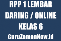 Contoh RPP 1 Lembar Daring Kelas 6 Tahun 2020/2021