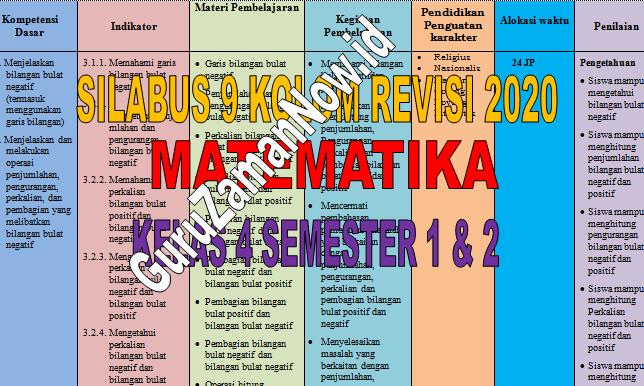 Silabus 9 (Sembilan) Kolom MTK Kelas 4 Revisi 2020