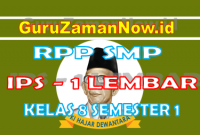 RPP IPS 1 Lembar Kelas VIII Semester 1