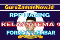 RPP Daring / Online Kelas 5 Tema 9 Format Satu Lembar