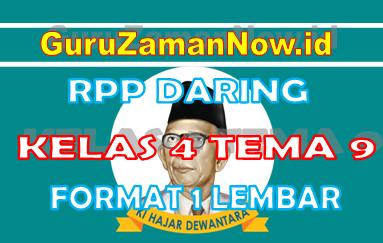RPP Daring / Online Kelas 4 Tema 9 Format Satu Lembar