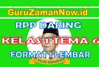 RPP Daring / Online Kelas 1 Tema 6
