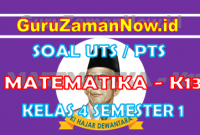 Soal UTS MTK K13 Kelas 4 Semester 1