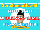 RPP SENI BUDAYA 1 Lembar Kelas IX Semester 1