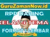 RPP Daring / Online Kelas 4 Tema 8 Format Satu Lembar
