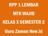 RPP 1 Lembar MTK WajibKelas 10 Semester 2 Revisi 2020