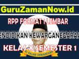 RPP PPKN 1 Lembar Kelas 10Semester 1