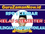 RPP 1 Lembar Kelas 2 Semester 2 Lengkap Dengan Lampiran Penilaian
