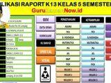 Aplikasi Raport K13 Kelas 5 Semester 2