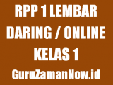 Contoh RPP 1 Lembar Daring Kelas 1 Tahun 2020/2021
