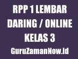Contoh RPP 1 Lembar Daring Kelas 3 Tahun 2020/2021
