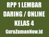 Contoh RPP 1 Lembar Daring Kelas 4 Tahun 2020/2021