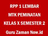 RPP 1 Lembar MTK Peminatan Kelas 10 Semester 2 Revisi 2020