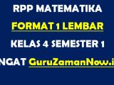 RPP Matematika Format 1 Lembar Kelas 4 Semester 1