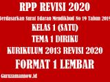 Administrasi 3 Komponen RPP 1 Lembar Kelas 1 Tema 1 Semester 1 Revisi 2020