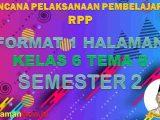 RPP K13 1 Lembar SD Kelas 6 Tema 8