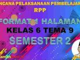 RPP K13 1 Lembar SD Kelas 6 Tema 9